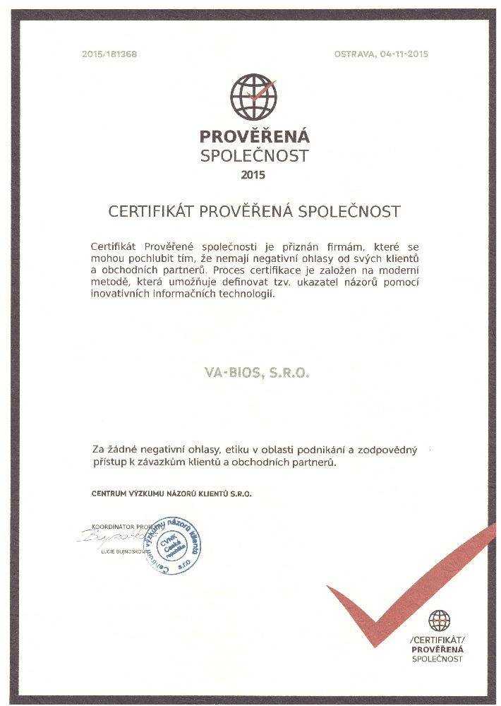 Certifikát prověřené společnosti